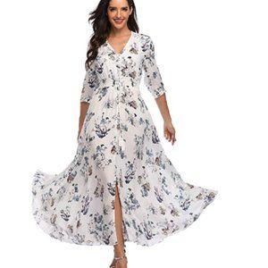 Women Button Up Split Long Flowy Floral Maxi Dress